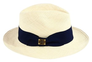 Tory Burch TORY BURCH Classic Grosgrain Fedora Hat, Navy Blue