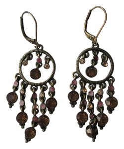 Vintage chandelier earrings with amber stones