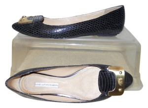Diane von Furstenberg Leather Snakeskin black Flats