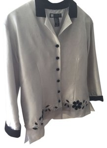 Carole Little Flowers Silk Blue-Gray Black Velvet Trim Jacket
