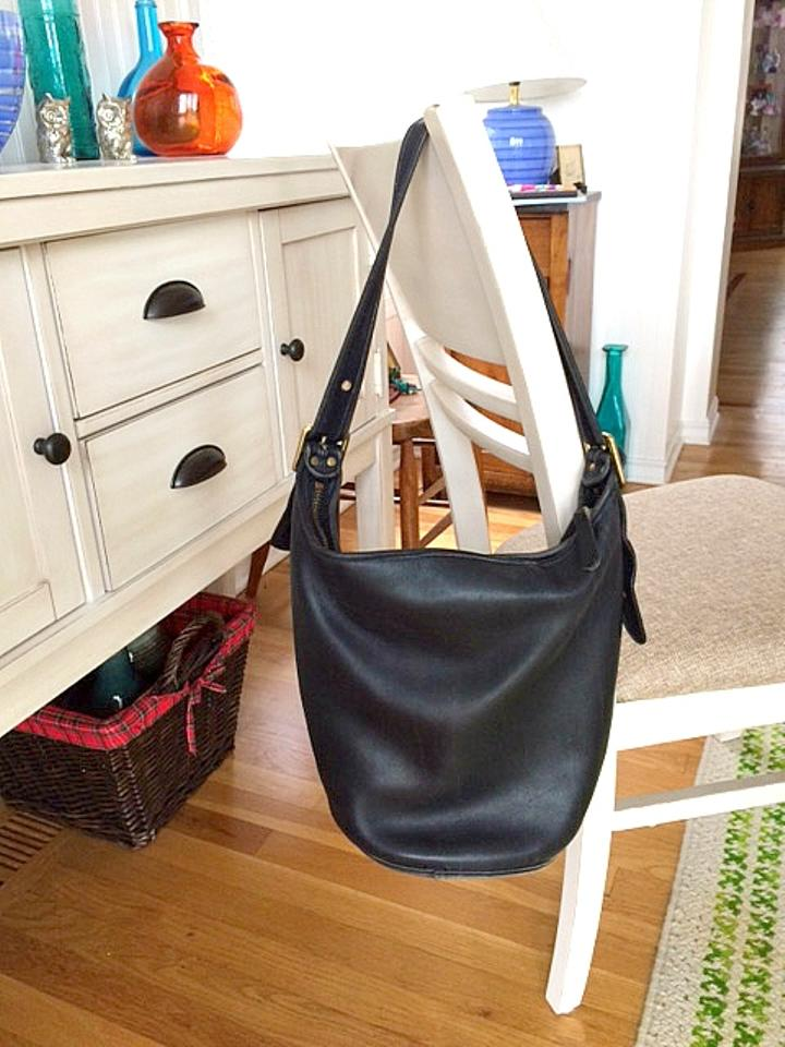 aae42b4359e7 Coach Vintage Legacy Bucket with Brass Hardware Black Leather Shoulder Bag  - Tradesy