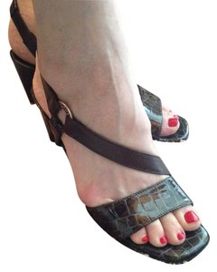 Brighton Black Croc and Brown leather Sandals