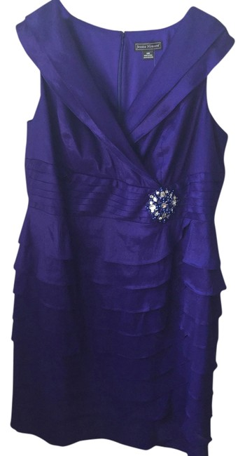 Jessica Howard Crystal Brooch Gown Purple Prom Evening Dress