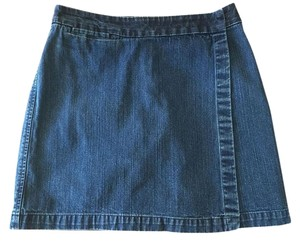 Kate Hill Cotton Skort Mini Skirt Denim Blue