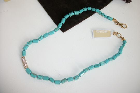Michael Kors Turquoise Necklace Seaside Luxe Knotted Beaded Pave Crystals