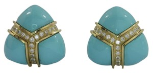 Turi Turi Turquoise Diamond Gold Triangular Earrings
