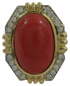 Coral and Diamond Ring with Symmetric Design