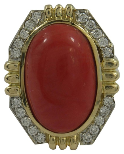 Other Coral and Diamond Ring with Symmetric Design