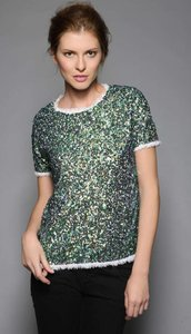 Gryphon Sequin Tshirt Top Green