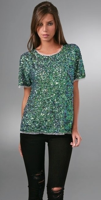 Gryphon Sequin Tshirt Metallic Sparkle Top Green