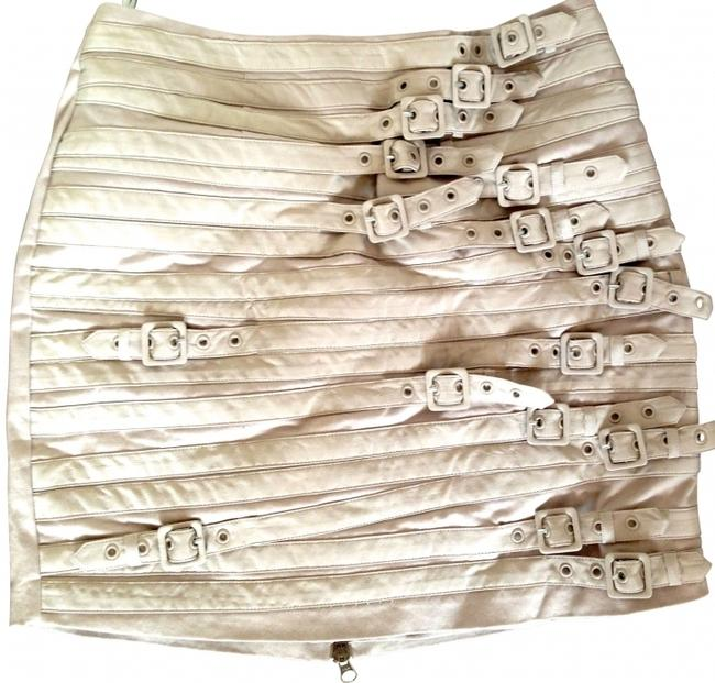 Madison Marcus Buckle Day To Night Mini Nude Mini Skirt Khaki