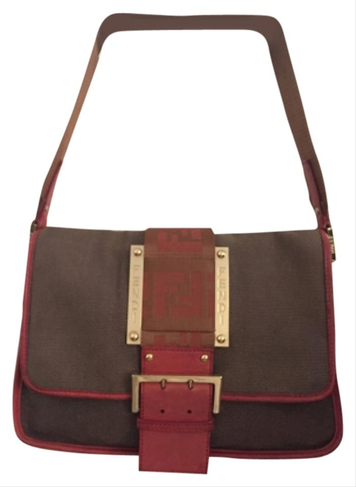 Fendi Woven Brown Fabric Red Leather Hobo Bag - Tradesy 6467a10302676