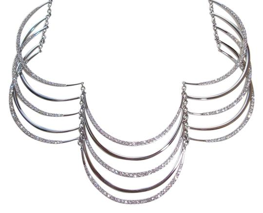 Fossil New! $168 Fossil Brand Crystals Stainless Steel Drama Bib Glitz Necklace