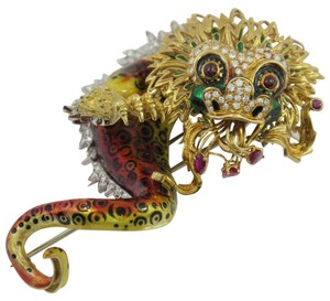 Whimsical Enamel Ruby Diamond Golden Chimera Brooch