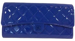 Chanel Chanel Royal Blue Quilted Patent Leather Wallet