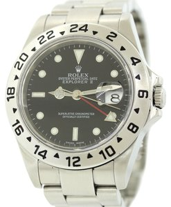 Rolex Authentic 2005 Rolex Explorer II 16570 Steel Black Dial GMT 40mm Sport Watch Box & Papers
