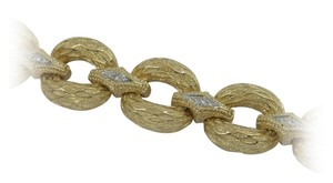 Organic Textured Gold Bracelet with Diamond Connectors