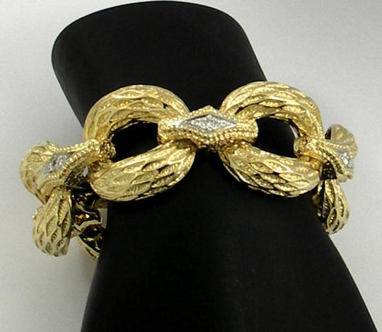 Other Organic Textured Gold Bracelet with Diamond Connectors