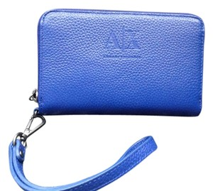 A|X Armani Exchange Leather Wristlet in Blue