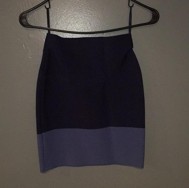 BCBGMAXAZRIA Mini Skirt Navy Blue & Gray Blue