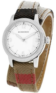 Burberry Burberry Women's The Utilitarian Canvas Check & Leather Strap Silver Tone Stainless Steel Wrap Watch BU7849