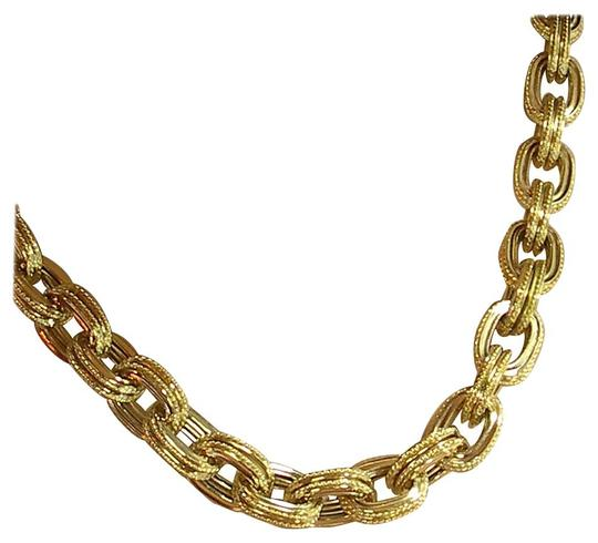 Other Rope Edged Gold Cable Link Necklace