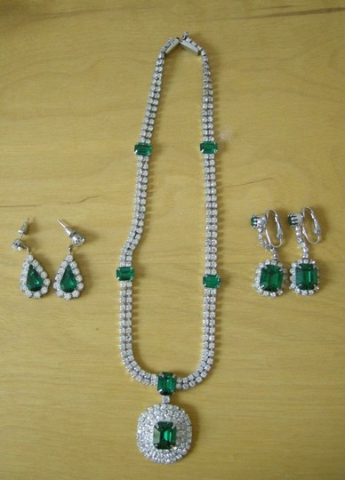 Green Vintage Emerald Costume Jewelry Set