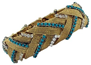 Turquoise Diamond Gold Braided Design Bracelet