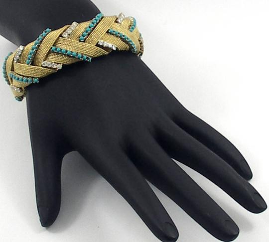 Other Turquoise Diamond Gold Braided Design Bracelet