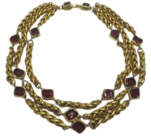 Chanel Sale - RARE VINTAGE CHANEL 3 STRAND GOLD PLATED GRIPOIX NECKLACE