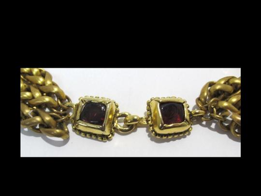 Chanel RARE VINTAGE CHANEL 3 STRAND GOLD PLATED GRIPOIX NECKLACE