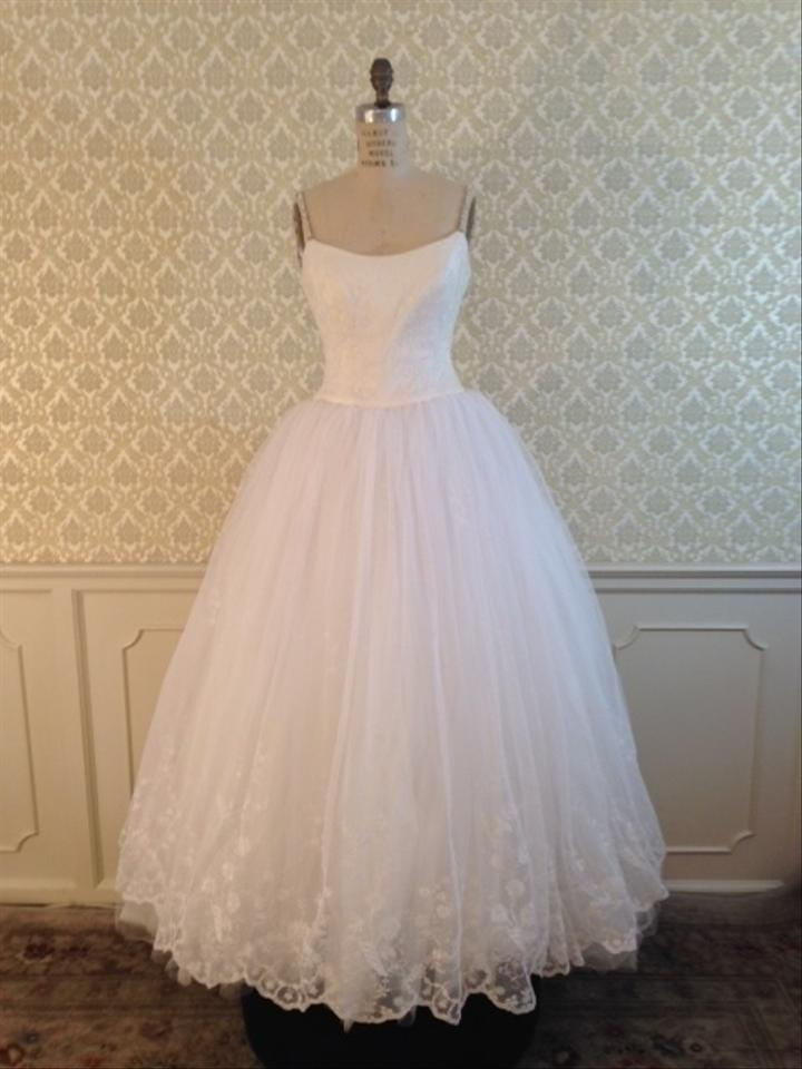 Lazaro white lace 3495 tulle ballgown silver beaded straps for Silver wedding dresses for sale