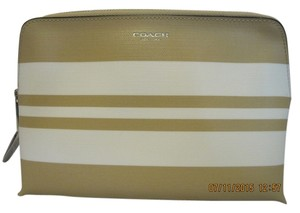 Coach NWT COACH BLEECKER STRIPED COATED CANVAS COSMETIC BAG TAN AND WHITE SILVER HARDWARE