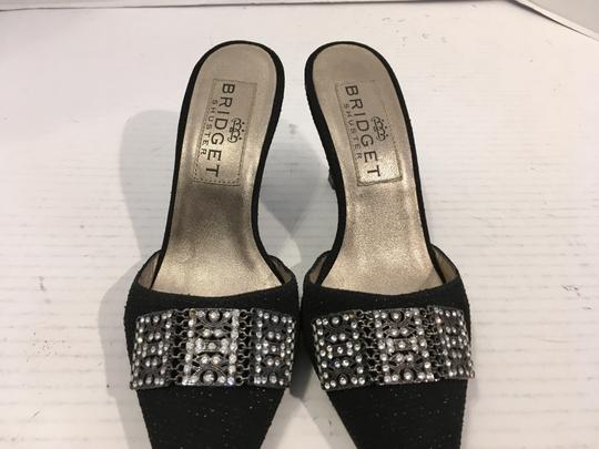 Bridget Shuster Fancy PRICE REDUCTION Black shimmery fabric leather lining / soles gorgeous clear stones metal setting slip on Mules