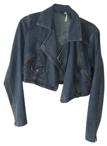 Free People Crop Edgy Zipper Detail Denim Womens Jean Jacket