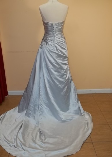 Impression Bridal Grey/Black Satin 3071 Formal Wedding Dress Size 6 (S)