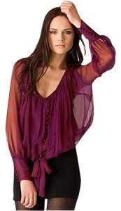Elizabeth and James Front Day To Night Silk Chiffon Top Wine