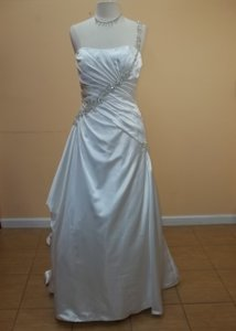 Impression Bridal Diamond White Satin 3085l Formal Wedding Dress Size 10 (M)