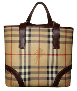 Burberry London Nova Check Leather Tote in Haymarket Brown