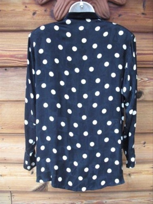 Platinum Dorothy Schoelen Vintage Polka Dot Button Front Velvet Long Sleeve Top Black/Cream
