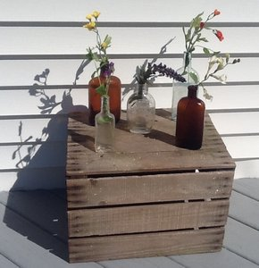 Amber Brown And Clear Antique Vintage Bottles.
