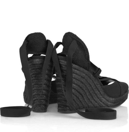 Narciso Rodriguez Espadrilles Wedges Designer Couture Black Sandals