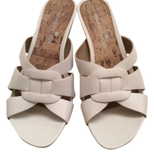 Montego Bay Club Slip On Wedge White with cork Sandals