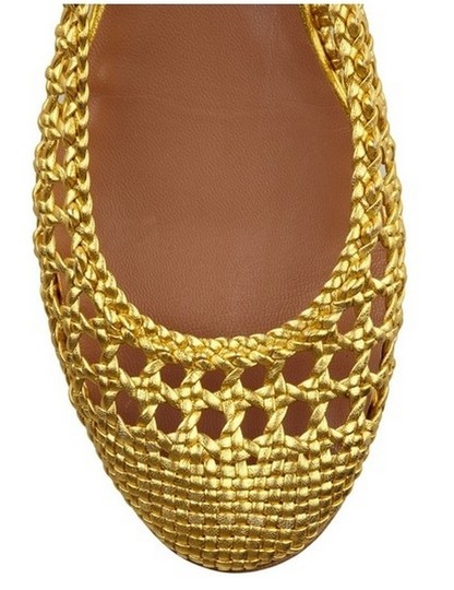 Sigerson Morrison Leather Designer Gold Metallic Flats