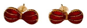 New Gold Red Bow Small Stud Earrings J1038