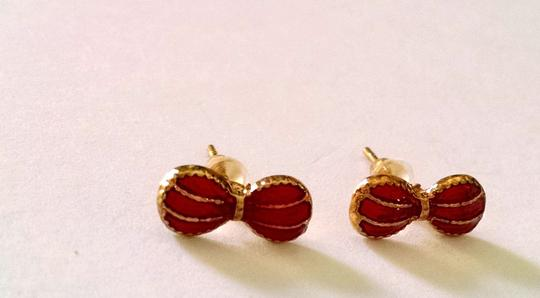 Other New Gold Red Bow Small Stud Earrings J1038