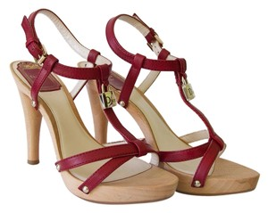 Dior Leather Padlock Ankle Strap Red Sandals