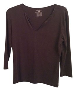 Jones New York Designer Brown 3/4 Sleeve Brown Cotton 3/4 Sleeve T Shirt