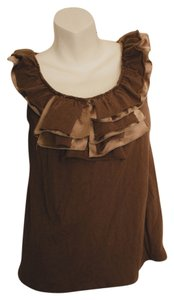 Ariella Distressed Punk Hipster Boho Top brown and beige