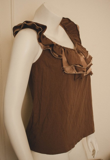 Ariella Distressed Punk Hipster Boho Bohemian Gypsy Cochella Hippy Hippie Taupe Spring Summer Ruffles Ruffled Ruffle Unseamed Top brown and beige